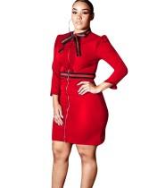 Top-to-Toe Zip Büro Kleid mit Ärmeln