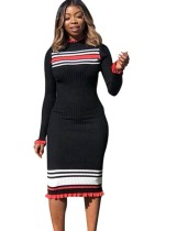 Uzun Kollu Siyah Triko Elbise