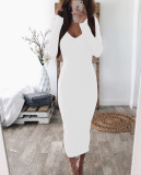 Sexy Plung trui schede jurk met volledige mouwen