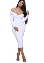 Long White Curvy Dress with Full Sleeves