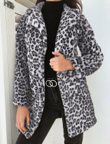 Leopardo elegante abrigo largo de felpa con mangas