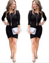 Long Sleeve Black Party Dress with Wrapped Hem
