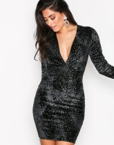 Deep-V Sexy Velvet Club Dress with Full Sleeves