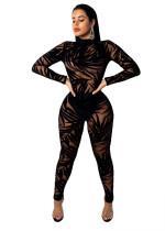 Imprimir negro de manga larga sexy Clubbing Jumpsuit
