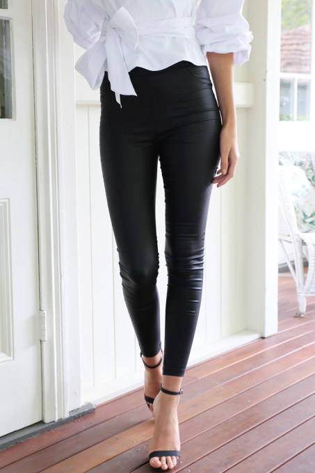 Black Leather Casual Leggings