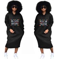 Print Black Long Sleeve Hoody Dress