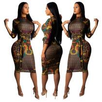 Knielanges bedrucktes kurviges Kleid mit 3 / 4-Ärmeln