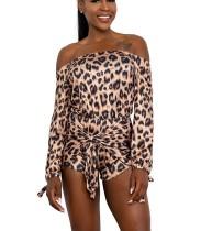 Выкл. Плечо с длинным рукавом Leopard Sexy Rompers