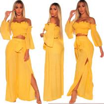 Pantalon deux pièces enveloppé jaune avec manches larges