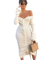 Vestido de suéter largo blanco sexy cariño