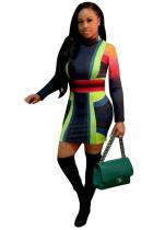 Tam Kollu Blok Renk Bodycon Elbise