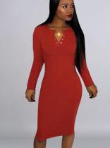 Effen jurk met lange mouwen en lange mouwen