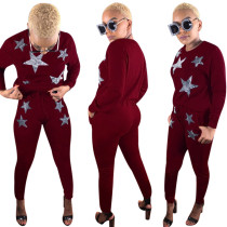 Estampado de estrellas manga larga Jogger Wear