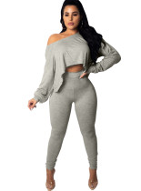Plain Color Long Sleeve Crop Top and Tight Leggings