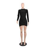Langärmeliges, schlichtes, figurbetontes Kleid