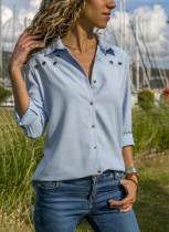 Blusa de manga larga de color liso