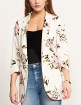 Blazer largo con estampado floral y cuello de cobertura