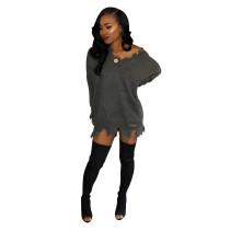 Mini vestido de suéter con ribete dañado