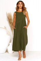 Sleeveless Long Boho Dress with Pockets