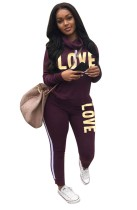 Letter Print Long Sleeve Jogger Suit