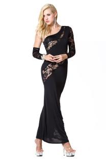 Schwarze Spitze eine Schulter Midnight Gown