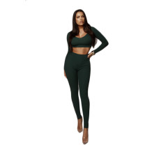 Solid Color Two-Piece Crop Set with Full Sleeves