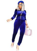 Slash Shoulder Blue fluwelen jumpsuit met lange mouwen