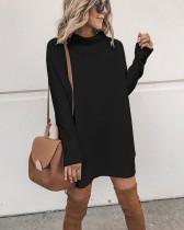 Düz Renk Knite Yarık Mini Elbise