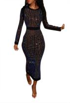 Vestido de fiesta con cuentas negro de manga larga