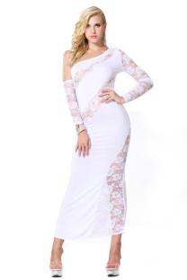 Weiße Spitze Ein Schulter Midnight Gown