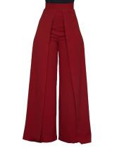 Pantalón ancho liso con cintura alta
