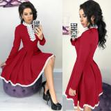 Dantel detaylı uzun kollu pileli patenci elbise