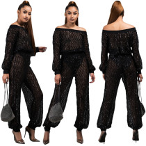 Sequins Black Off Shoulder Top and Loose Pants