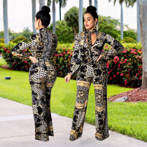 Gold and Black Retro Long Sleeve Jumpsuit