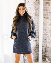 Dark Gray Lazy Dress with Pop Sleeves