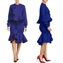 Occassional Long Sleeve Ruffles Top and Mermaid Skirt