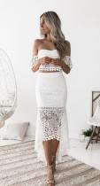 Witte kanten tweedelige onregelmatige jurk