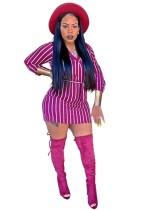 Mini vestido de manga larga con cuello en V y rayas