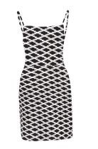 Mini abito con cinturino stampato bianco e nero
