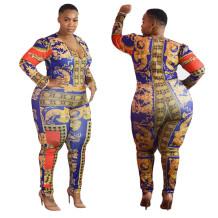 Imprimir Retro Long Sleeve Tight Jumpsuit