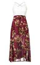 Lace Upper Straps Floral Wrap Dress