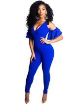Uitgesneden Blauwe Sexy Jumpsuit met Ruffle Cuff