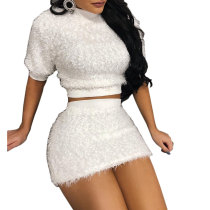 White Plush Crop Top and Mini Skirt