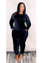 Sequins Velvet Long Sleeve Sweatsuit