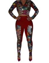 Sequins Long Sleeve Crop Top and Pants