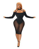 Vestido de fiesta de malla de manga larga sexy negro