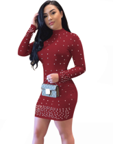 Long Sleeve Bead Bodycon Dress