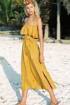Correas de verano vestido largo con cinturón