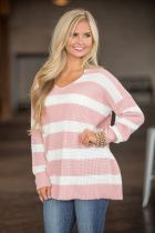 Wide Stripped V-Neck Loose Sweater