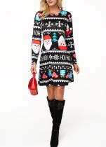 Imprimir vestido de manga comprida preta de Natal